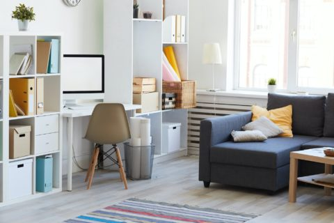 Apartment Interior in White and Blue